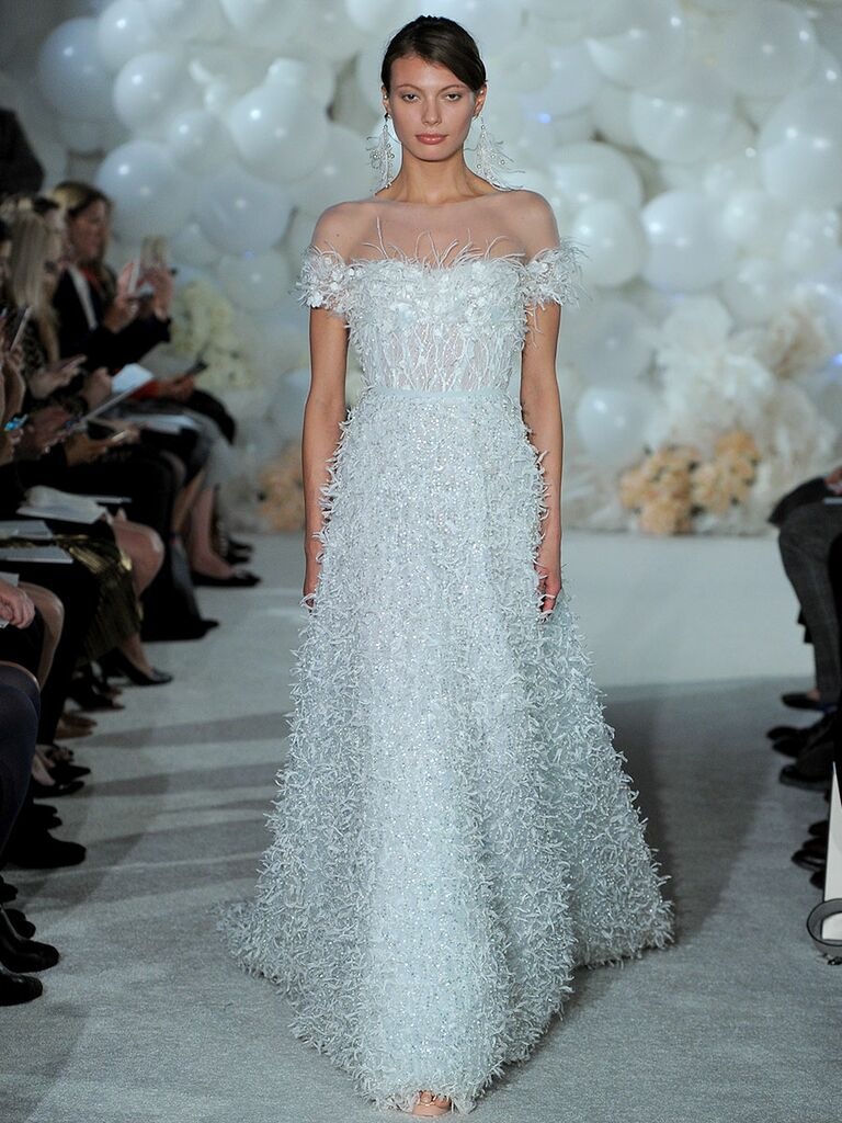Mira zwillinger spring 2018 collection bridal fashion week photos mira zwillinger spring 2018 powder blue fully sequined tulle of the shoulder ball gown with organza ombrellifo Gallery