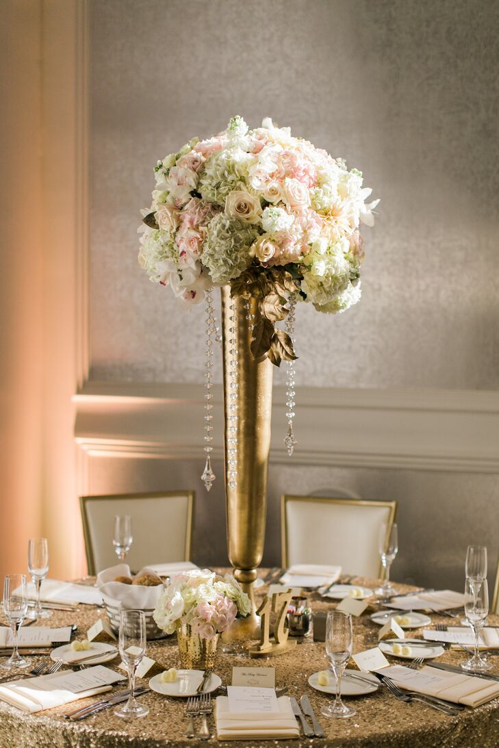 Tall Centerpieces With Hydrangeas And Roses : An elegant ballroom wedding at kimpton hotel monaco