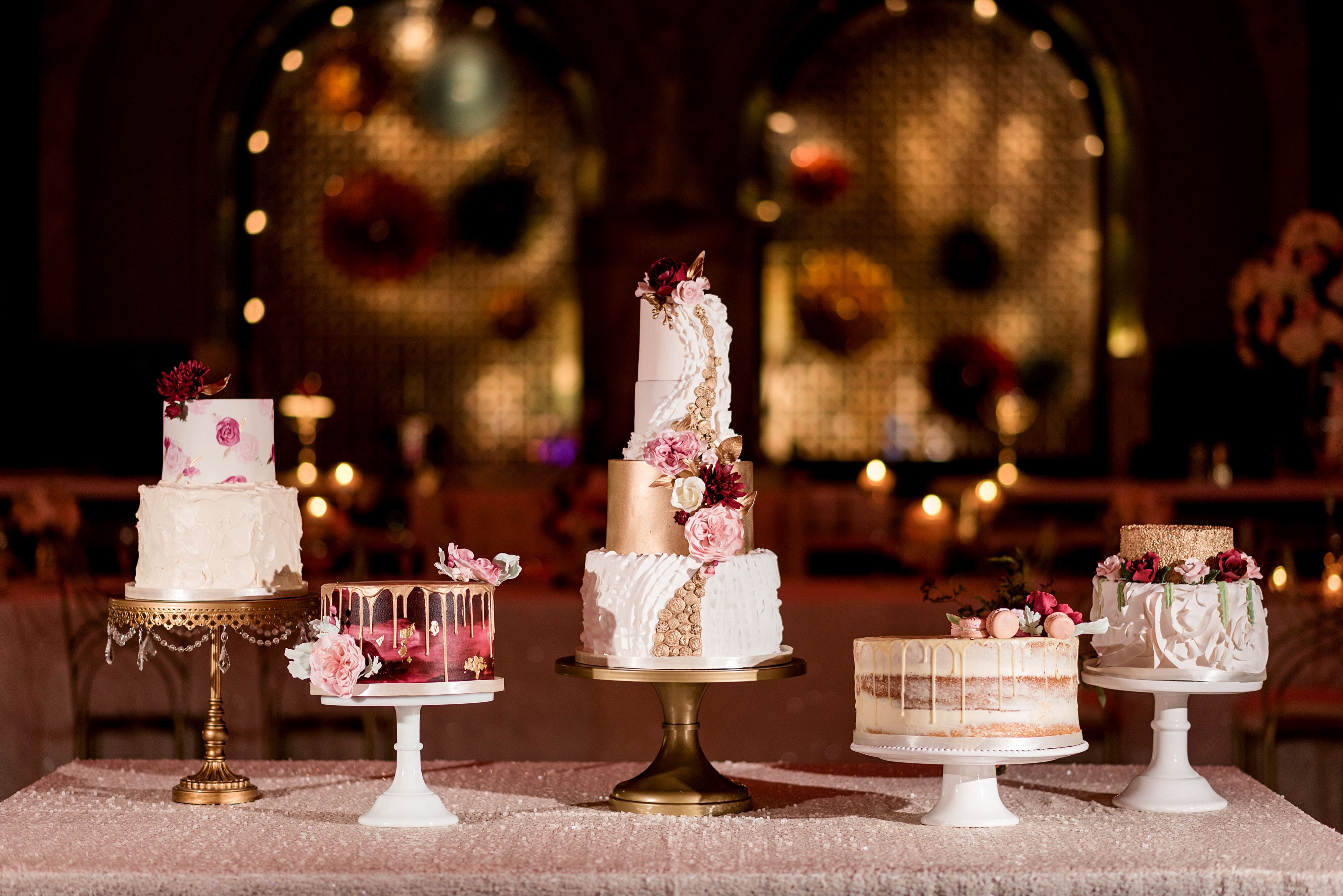 Red and Gold Wedding Cake Display