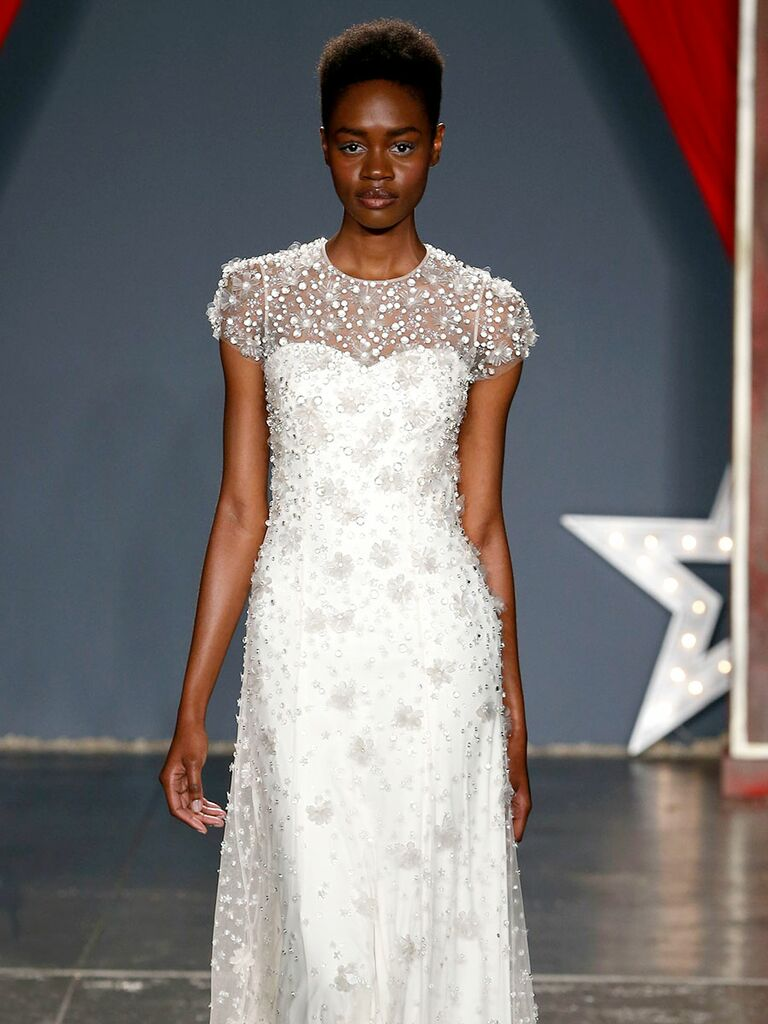Jenny packham spring 2018 collection bridal fashion week photos jenny packham spring 2018 beaded wedding dress with cap sleeves junglespirit Images