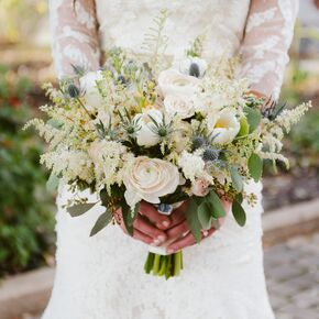 Rustic Astilbe Rose And Thistle Bouquet