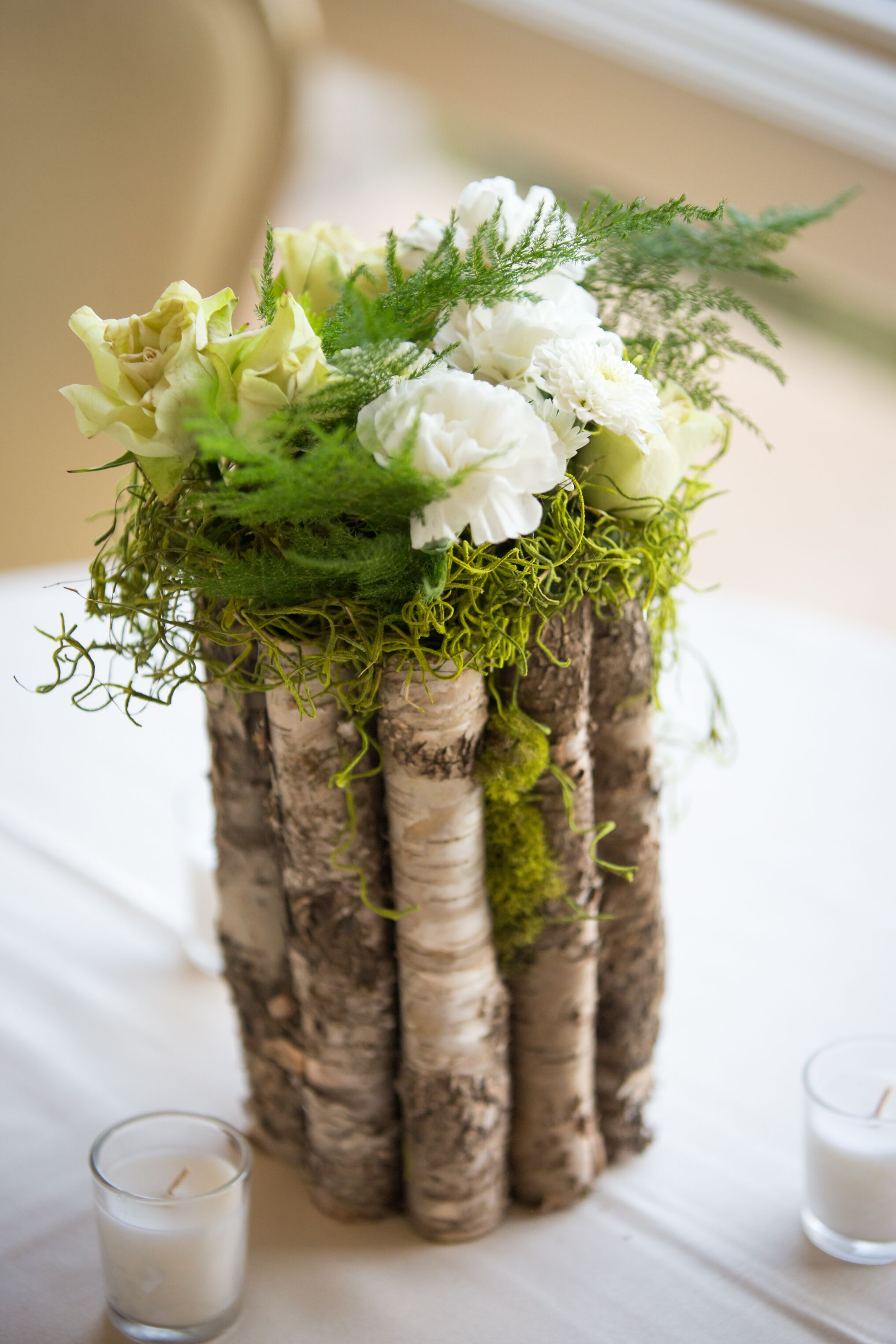 Wood moss carnation centerpieces