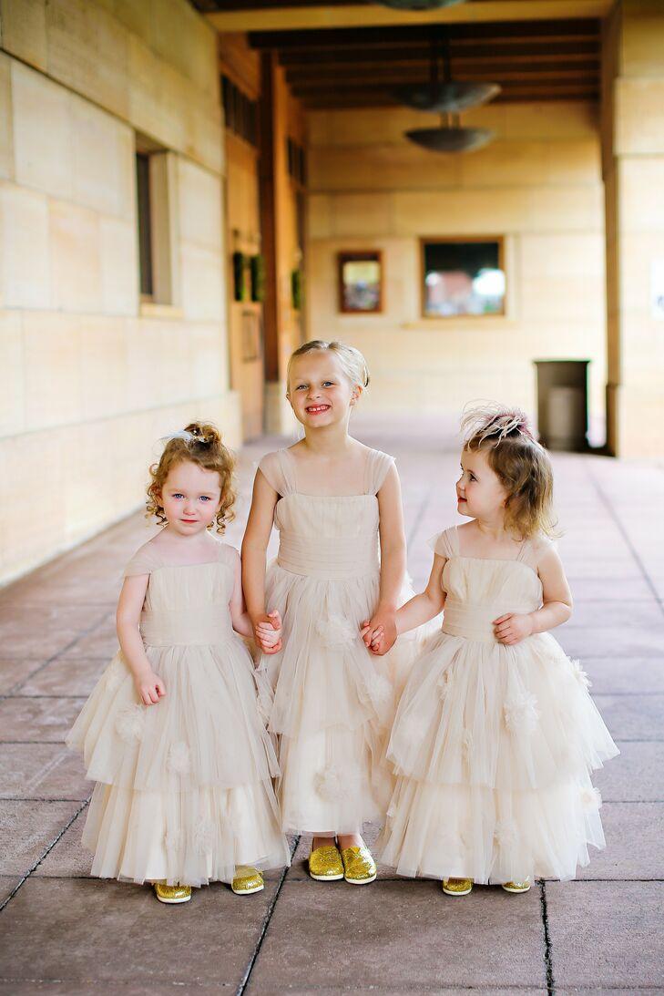 Neutral layered flower girl dresses for Neutral dresses for weddings