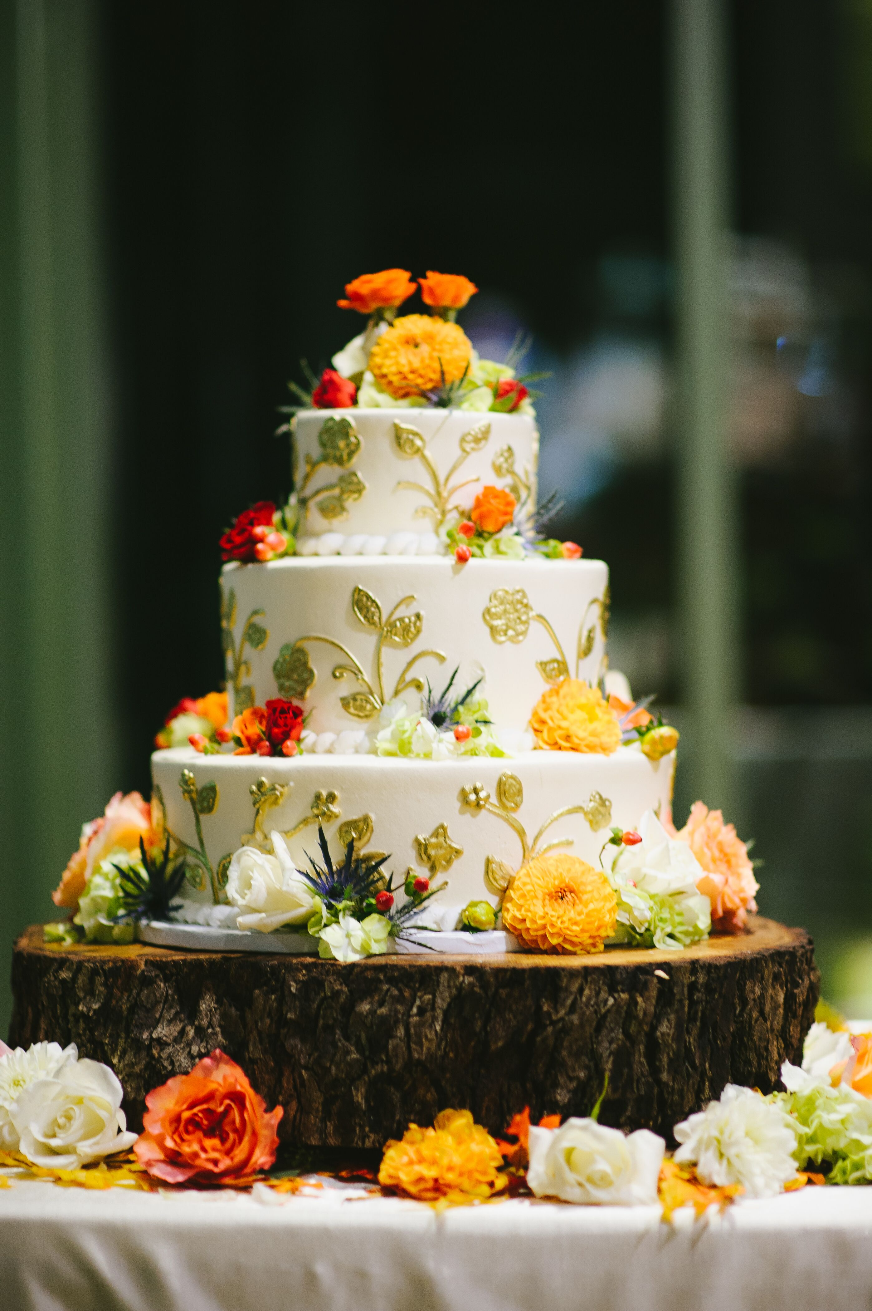 Detailed Gold Fall Inspired Wedding Cake