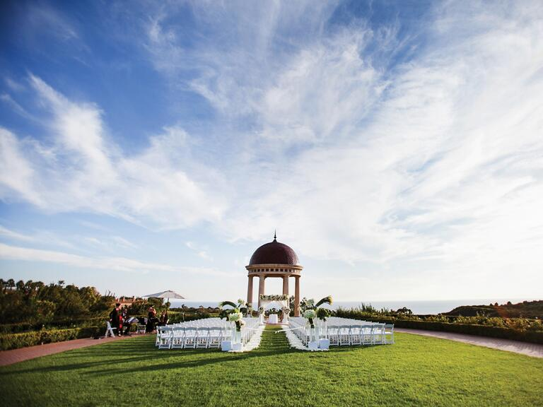 Outdoor wedding ceremony venue setup