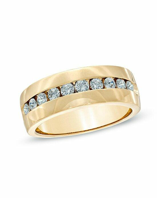 Zales Men's 1 CT. T.W. Channel Set Diamond Wedding Band in 14K Yellow Gold  18056416 Wedding Ring photo