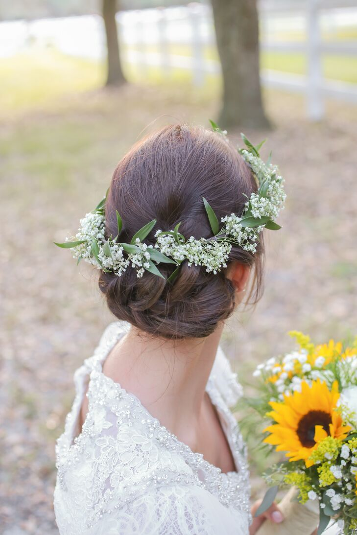 Babys Breath Flower Crown And Updo Hairstyle