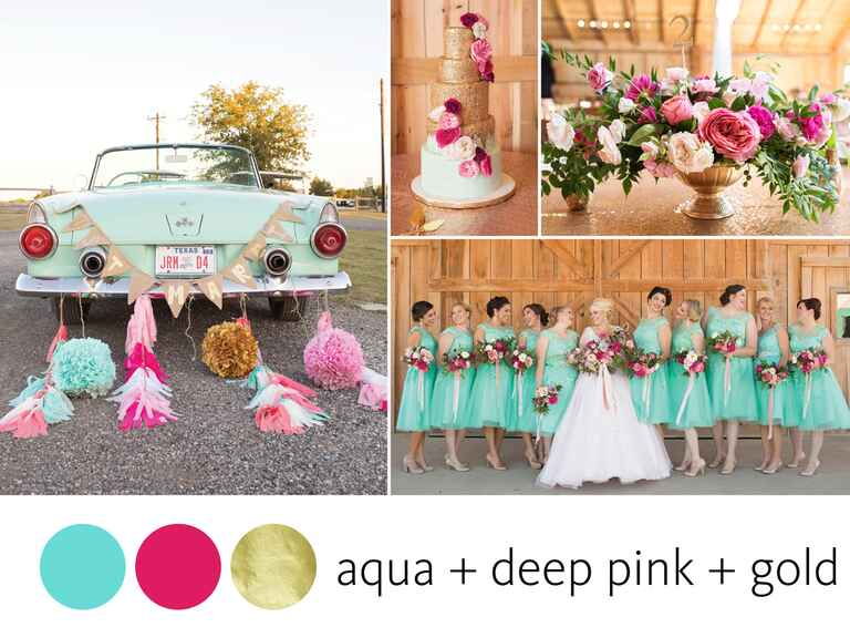 Summer wedding color combination with aqua, deep pink and gold
