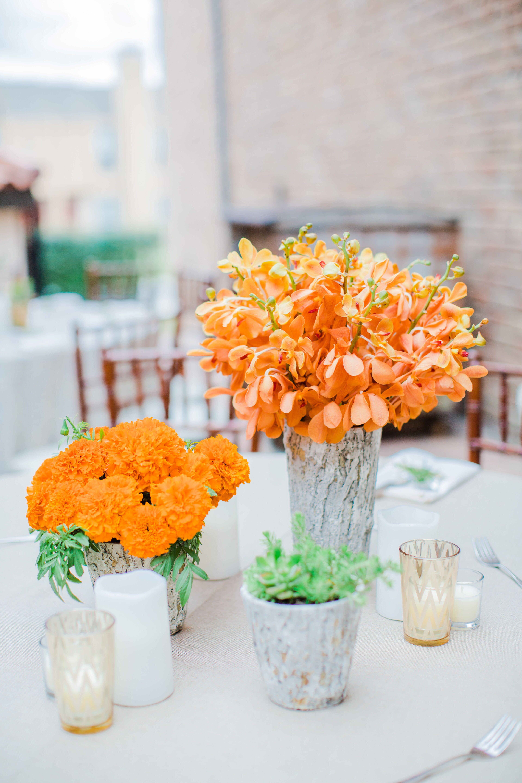 Orange Flower Natural Wooden Vase Centerpieces