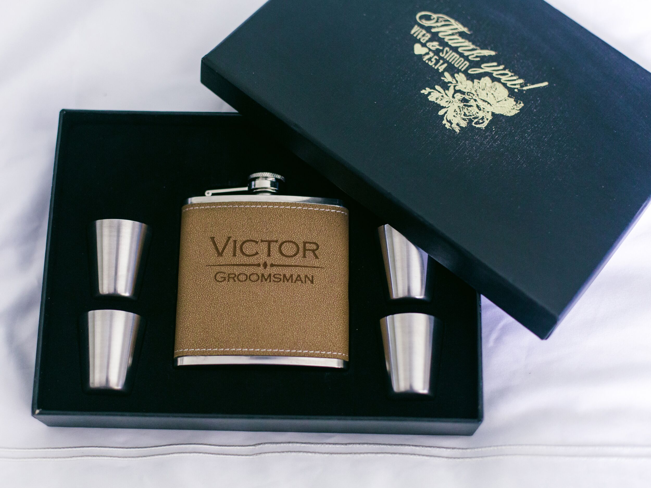 Customized leather flask and shot glass groomsmen gift set