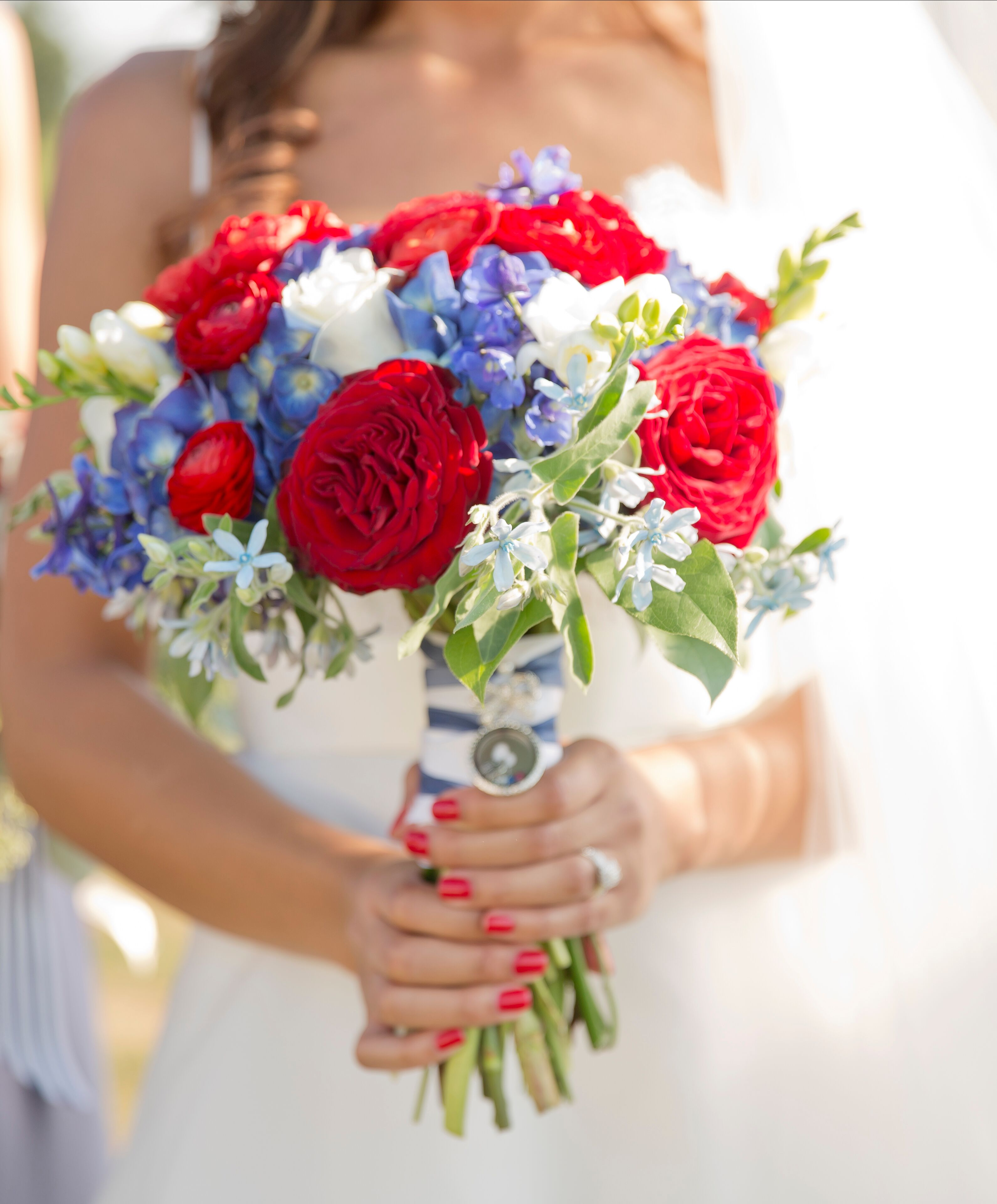 White And Red Wedding Flowers: Red, White And Blue Rose Bridal Bouquet