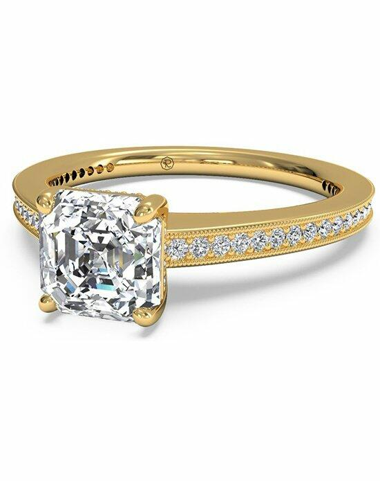 Ritani Asscher Cut Micropave Diamond Band Engagement Ring with Milgrain Finish in 18kt Yellow Gold (0.20 CTW) Engagement Ring photo