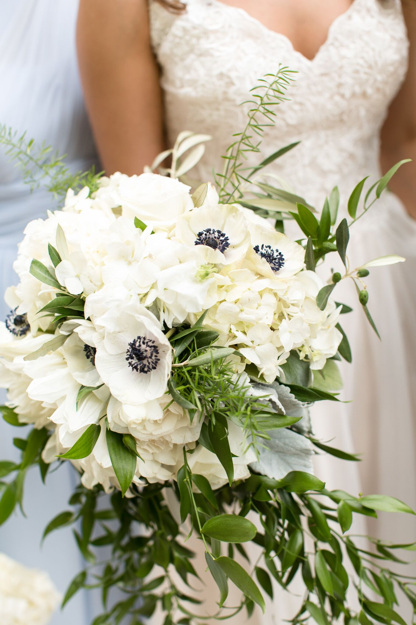 White Hydrangea And Anemone Bridal Bouquet