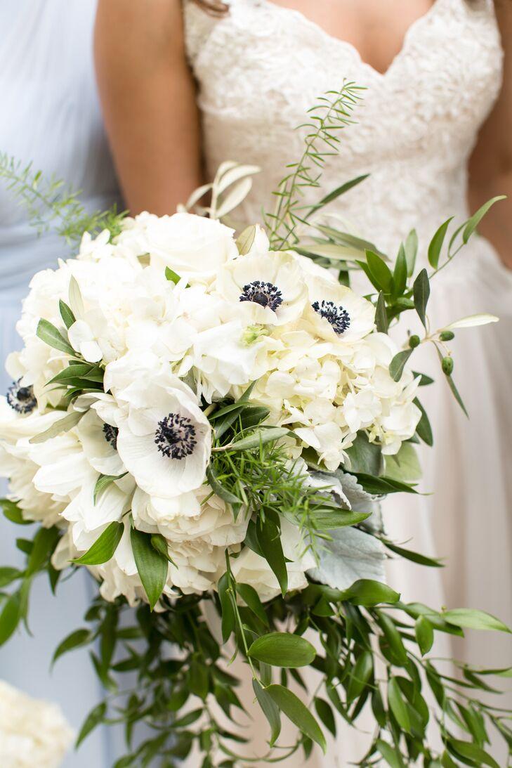 White Hydrangea and Anemone Bridal Bouquet