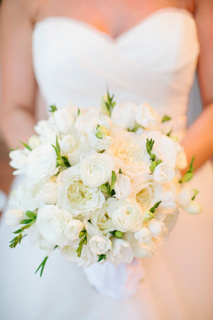White Ranunculus And Garden Rose Wedding Bouquet
