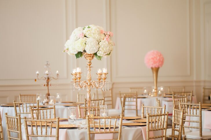 Towering Gold Candelabra Wedding Centerpieces