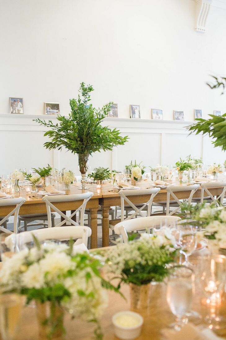Rustic Dining Table Tall Plant Centerpiece