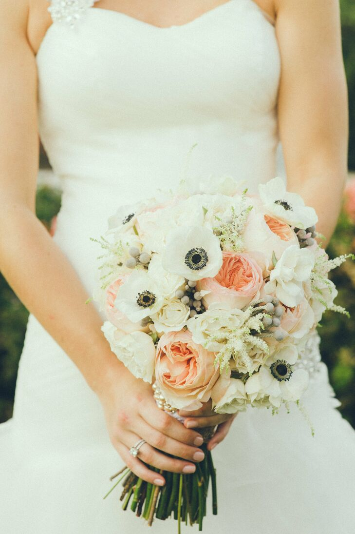 Peach And White Garden Rose Anemone Bridal Bouquet