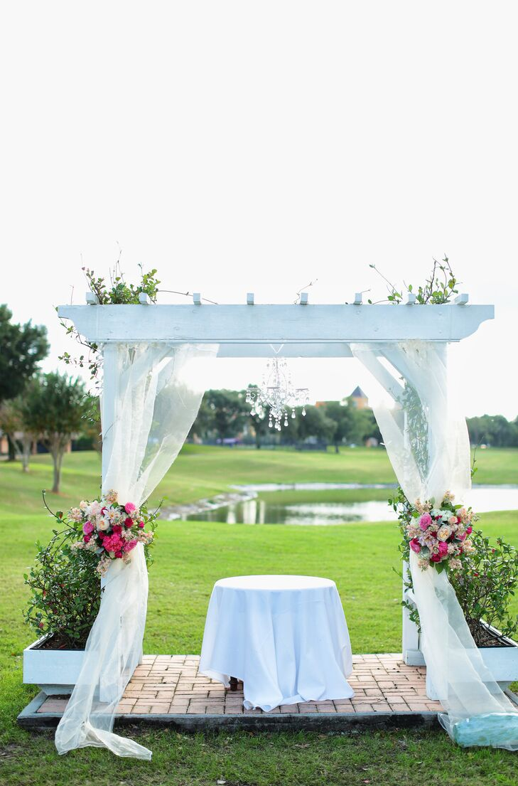 Bright White Fabric Draped Wedding Arch