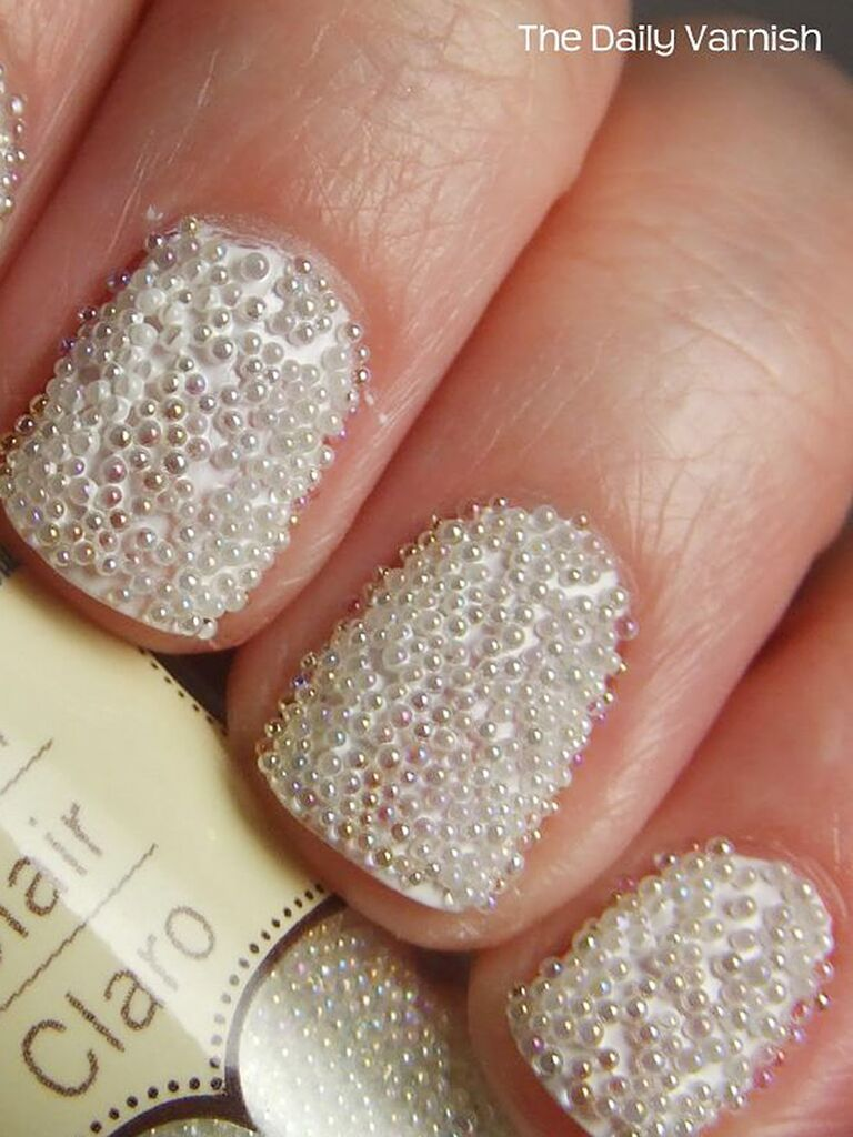 White Bridal Manicure With Fun Texture Details