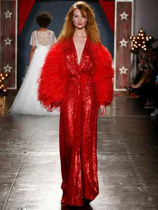 red sequin wedding dress with feather jacket