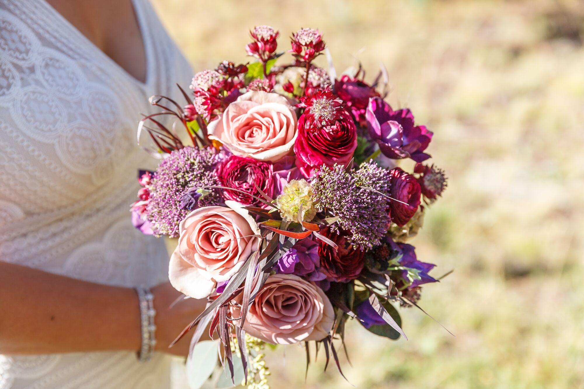 Plum Ranunculus Rose Scabiosa Bridal Bouquet