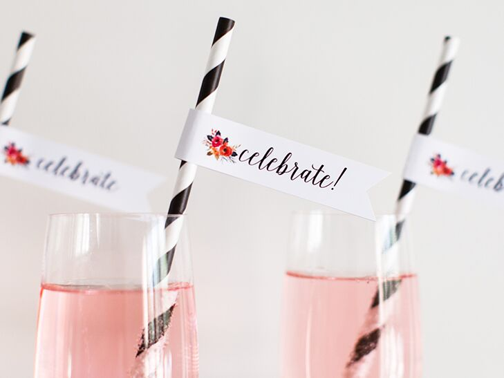 celebratory DIY party flags for cocktails