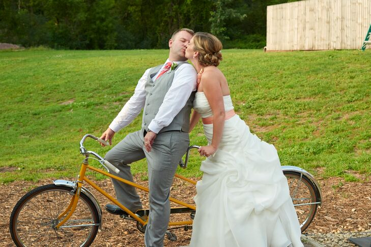 A Kiss Between the Couple on a Bicycle