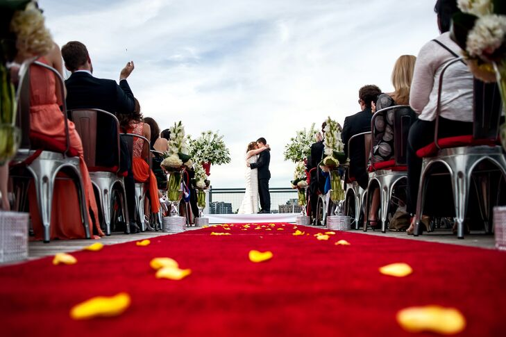 Yellow Rose Petals And Red Aisle Runner