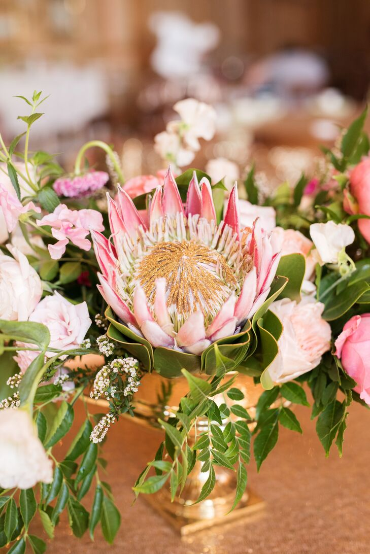 Pink King Protea and Garden Rose Centerpieces