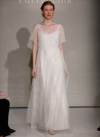 Jenny Yoo Fall 2016 wedding dress with sheer flowing sleeves and scoop neckline, lace details on bodice and flowing skirt