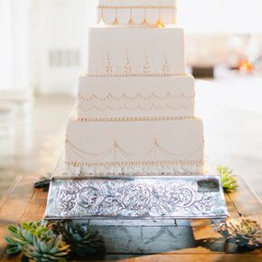 Vintage wedding cakes ivory squared wedding cake with decorative piping junglespirit Choice Image