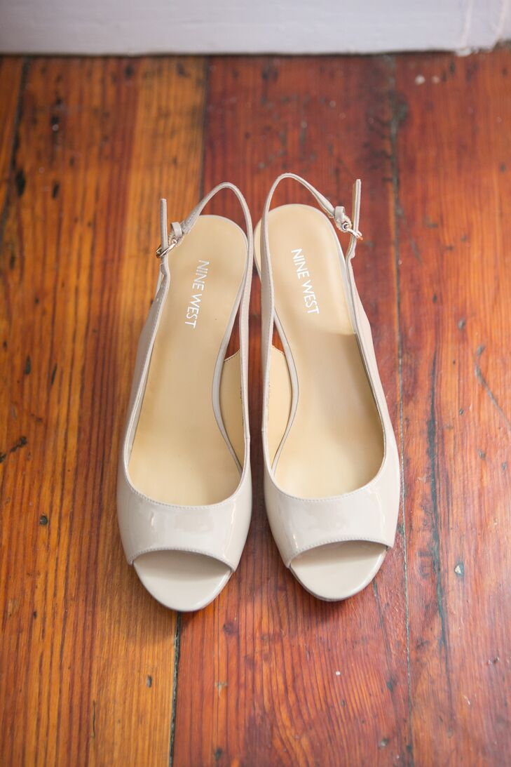 Simple Neutral Slingback Wedding Shoes