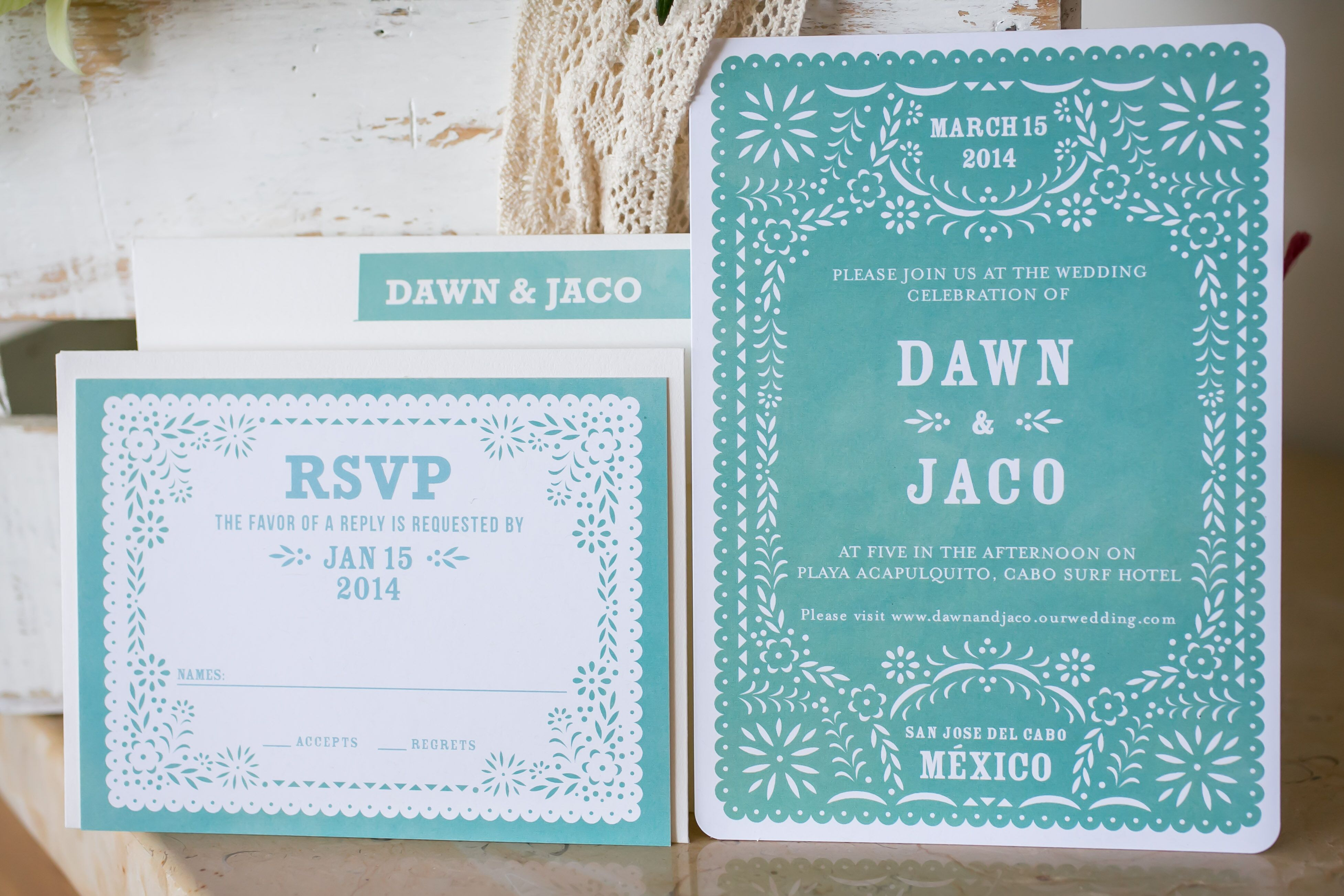 turquoise mexican inspired wedding invitation invites u2013 papercake designs papel picado - Papel Picado Wedding Invitations