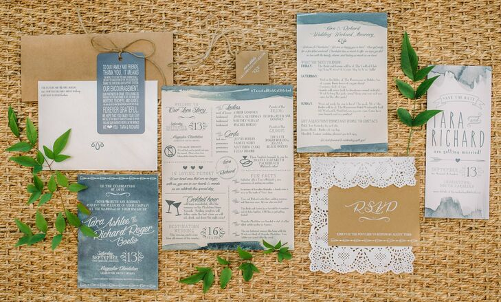 A deep blue watercolor motif and rustic accents like lacy envelopes and twine came together to give Tara and Richard's invitation suite a playful look.