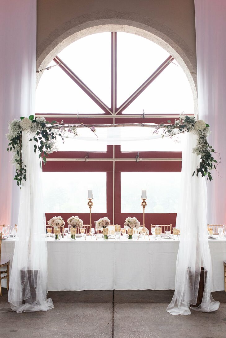 Kathleen and Alan had their ceremony and reception at World's Fair Pavilion at Forest Park in St. Louis, Missouri. They loved the alternative venue and its atmosphere and gorgeous views. The head table was framed by the wedding arbor from the ceremony for a little added romance.