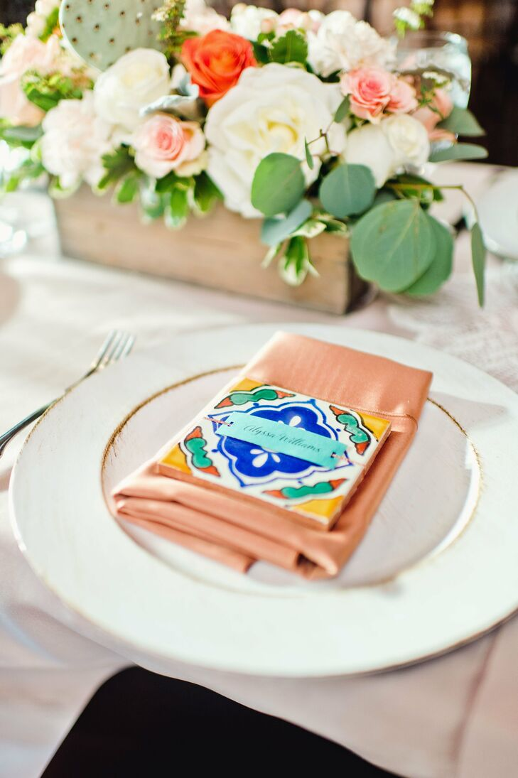 Liz ordered hand-crafted Spanish tile place cards for each guest, which also served as coasters (and wedding favors).