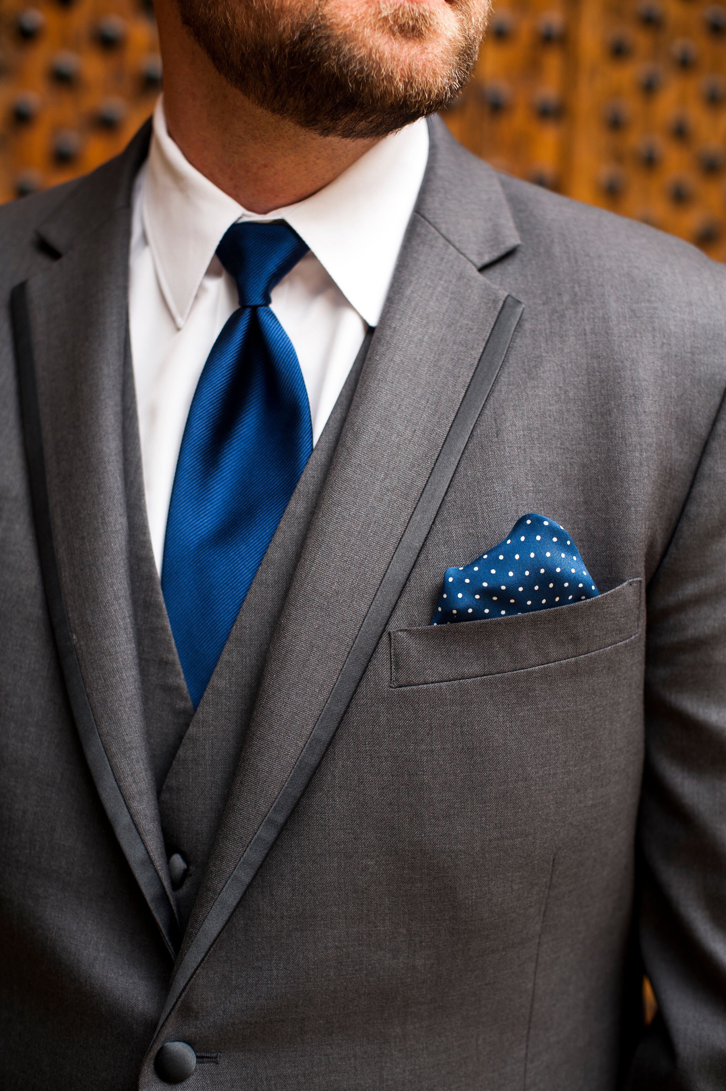 Gray Tuxedo With Navy Tie And Pocket Square