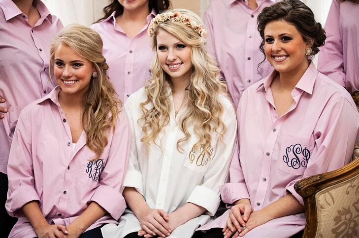 bridesmaids in pink button downs