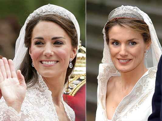 Kate Middleton and Queen Letizia on their wedding days