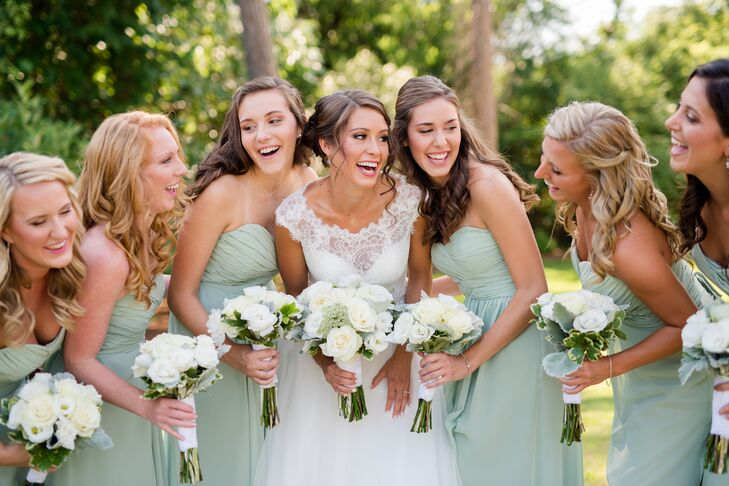Real Bridesmaids In Our Stunning And Elegant Bridesmaid: An Elegant, Sage And Ivory Wedding At Woman's Club Of