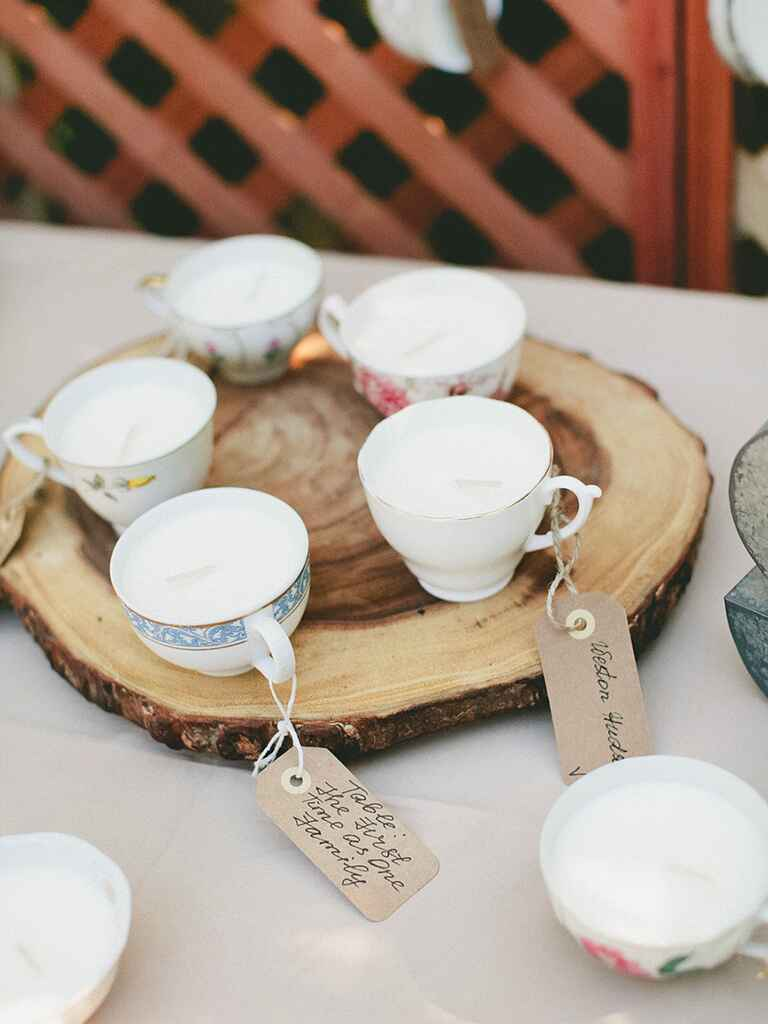 Rustic wedding favor idea with vintage tea cups and candles