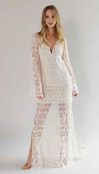 Claire Pettibone Spring 2017 long boho sleeve, side slit sheath of crochet lace wedding dress with tassel open tie back, and chapel length train