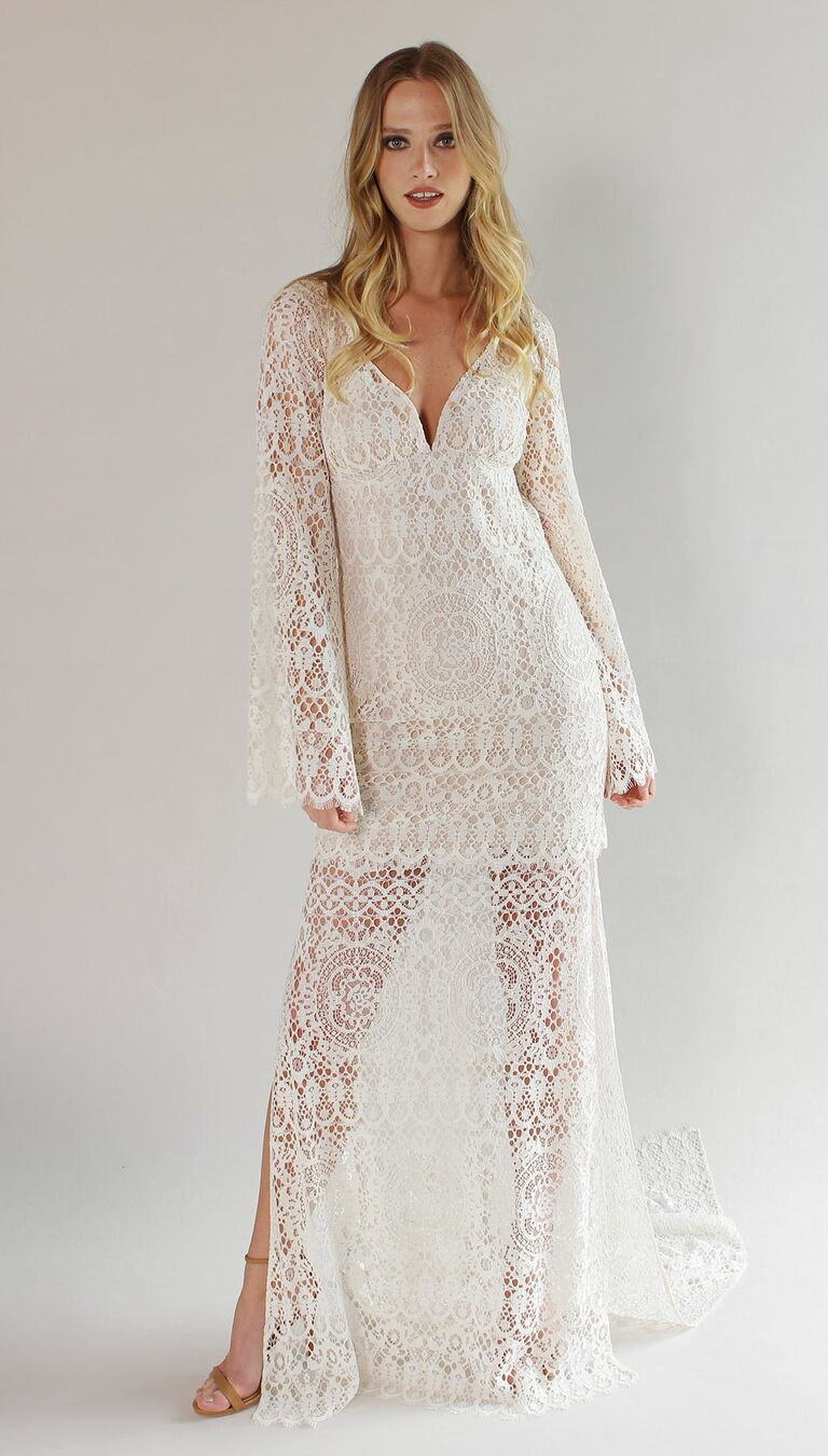 Claire pettibone spring 2017 collection bridal fashion week photos claire pettibone spring 2017 long boho sleeve side slit sheath of crochet lace wedding dress junglespirit Image collections