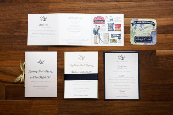 Chicago Themed Wedding Invitations: Harold Washington Library Wedding Ceremony
