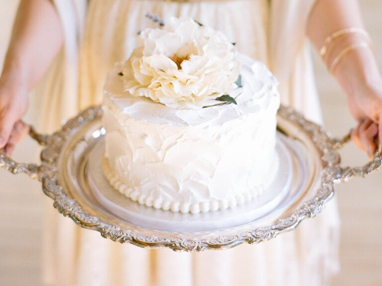 White floral tier wedding cake