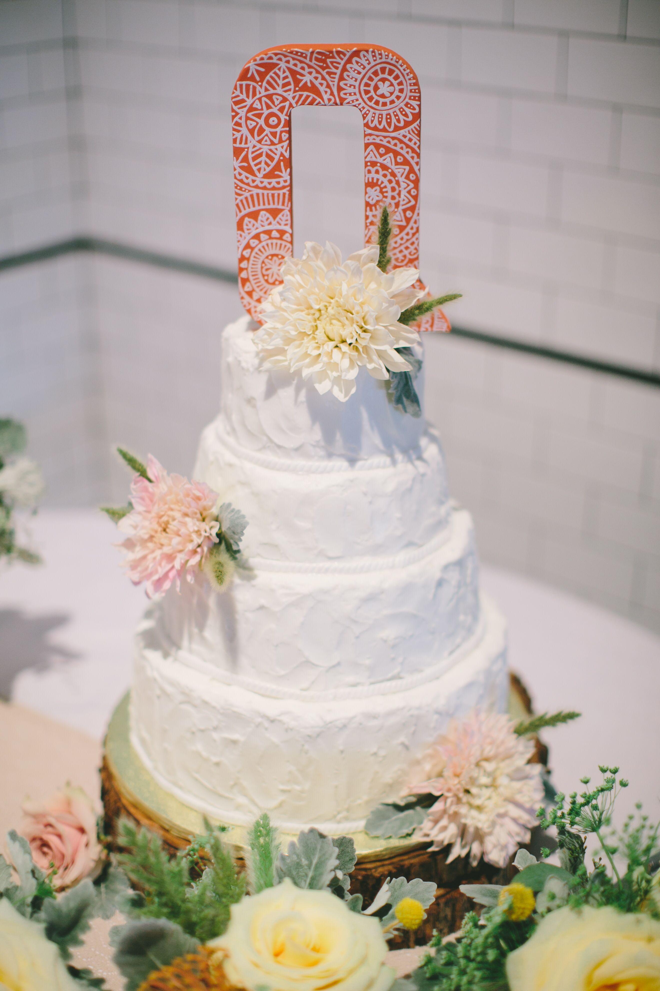 Textured Dahlia Wedding Cake