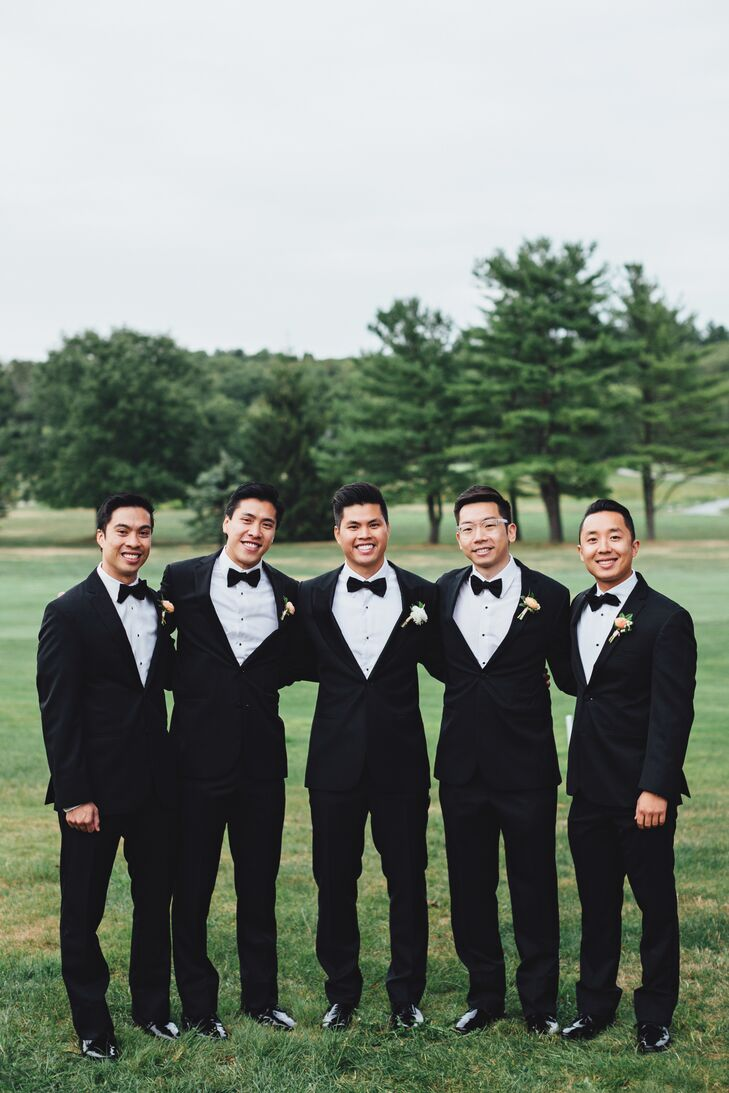 Stephen took the classic route when it came to choosing wedding day duds for his groomsmen. The guys donned traditional black Vera Wang tuxedos, which they paired with sleek patent dress shoes and black bow ties.
