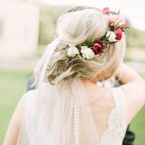 Loose Romantic Updo With Floral Crown