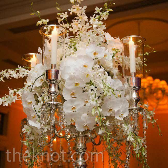 Orchid candelabra centerpiece